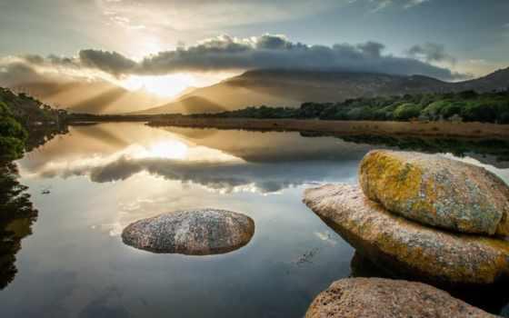закат, mountains, гора, desktop, озеро, река, usa, янв, rock, one,