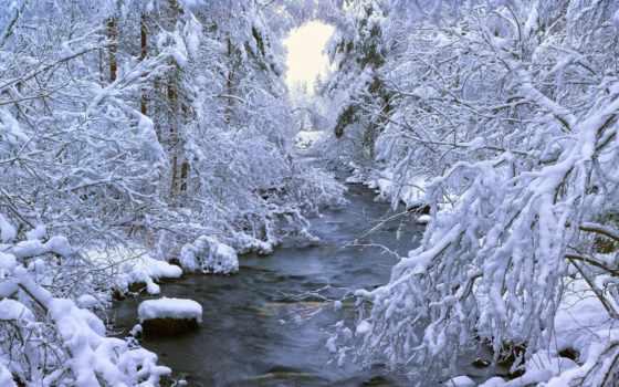 winter, sweden, лес, trees, swedish, река, снег, широкоформатные, dalarna,