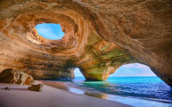 португалия, португалии, достопримечател, бенагил, пляж,