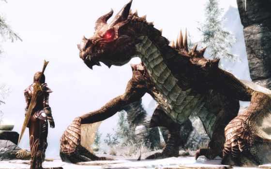 elder, scrolls, skyrim, дракон, скайрим, воин, снег, фоны, девушка,