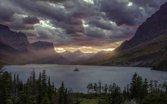 ,, небо, природа, водоем, природный ландшафт, гора, нагорье, облако, mountainous landforms, озеро,  saint mary lake, национальный парк, обои, изображение, парк, lake wanaka, lake saint clair, озеро