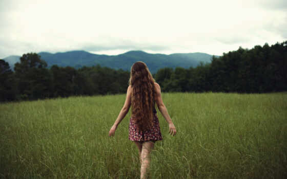 девушка, трава, природа, красивый, фон, гора, поле, спина, andrei, sonushkin, wallbox