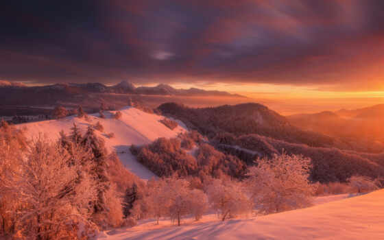снег, лес, закат, winter, гора, рассвет, slovenia, дерево, hill