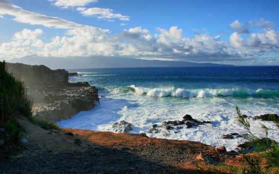 море, прибой, волны, берег, пейзажи, вода, океан, природа, облака, шпалери, landscapes, скалы, волна, картинка,