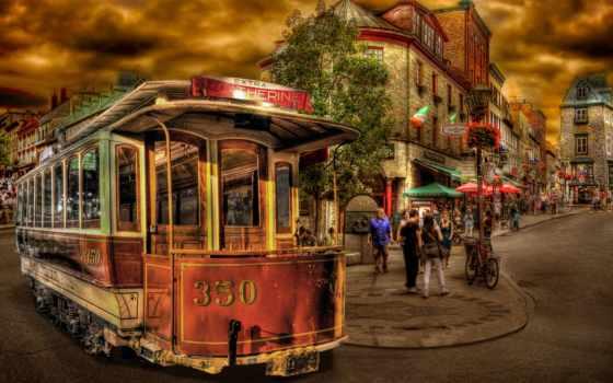 трамваи, трамвай, улица, балла, город,