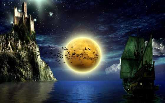 замок, взгляд, fantasy, замки, корабль, птицы, луна, smite, небо, звезды, water,