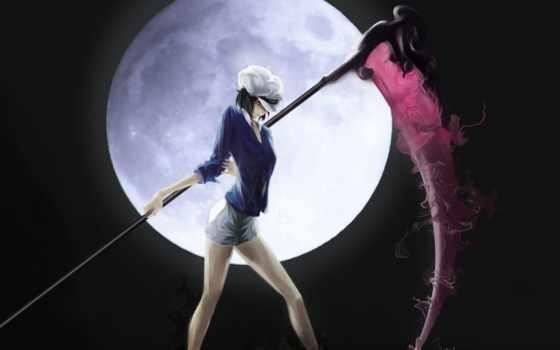anime, косичка, девушка, смерть, взгляд, шапка, кофточка, трусы, луна, оружие, череп,