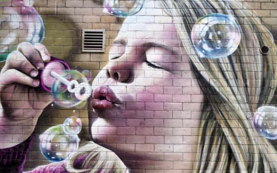 art, graffiti, стена, глаза, красивый, graffito, улица, девушка, brick, free, фото