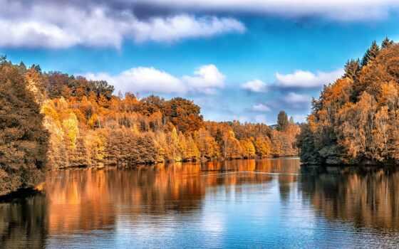 осень, озеро, дерево, отражение, лист, природа, гора, река