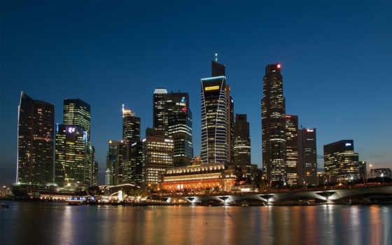 город, ночь, огни, nisimo, international, многоэтажки,мост,река,