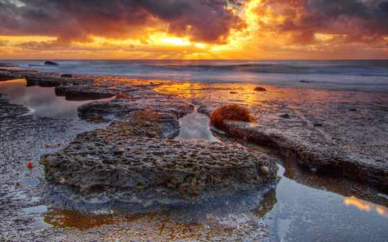 природа, закат, море, берег, скалистый,