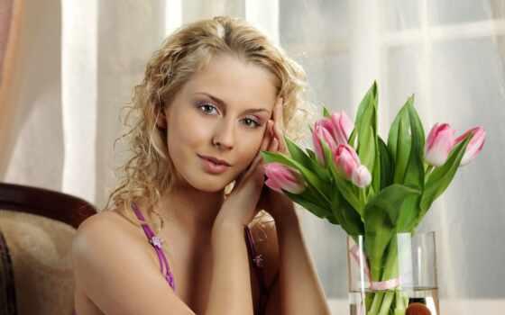devushki, тюльпан, девушка