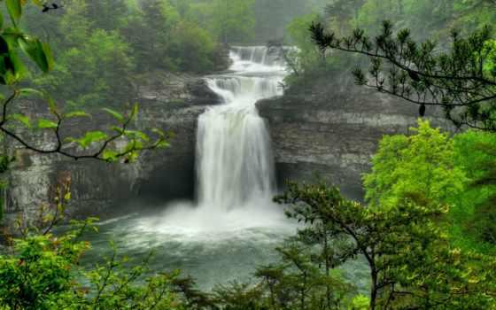 водопад, поток, falls, скалы, trees, лес, красивые, peaceful, desoto, водопады, alabama,