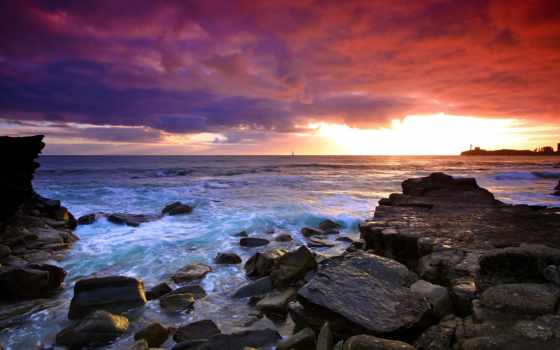 камни, море, берег, landscape, природа, закат, небо, горизонт,