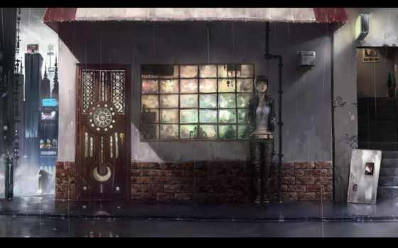 anime, дождь, девушка, спряталась, devushki, ищу, chihiro, взгляд,