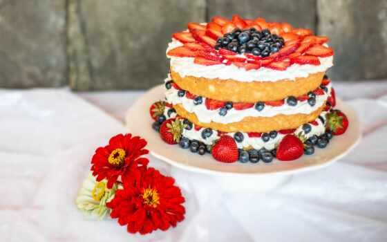 торт, ягода, layer, мороженое, vanilla, fresh, red, цветы, клубника, черника