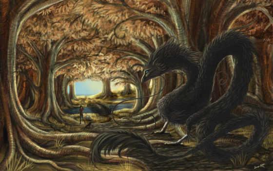 лес, дракон, фэнтези