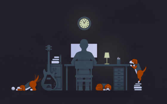 dogs, black, computer, парень, illustration, solitude, desk, lamp, guitar, картинка,