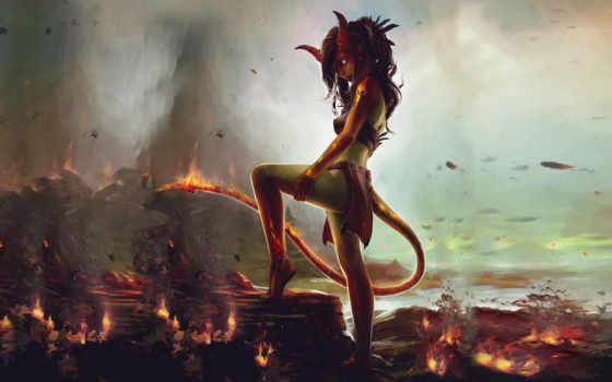 демон, девушка, art