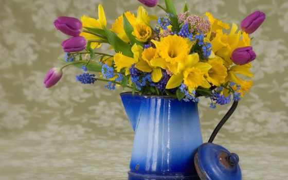 цветы, букет, весна