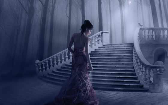 девушка, ступеньки, птица, лестницей, trees, лестница, платье, свет, devushki, fantasy,