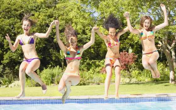 бассейн, girls, teenage, swimming, stock, фото, images, getty, четверо, into, девушка,