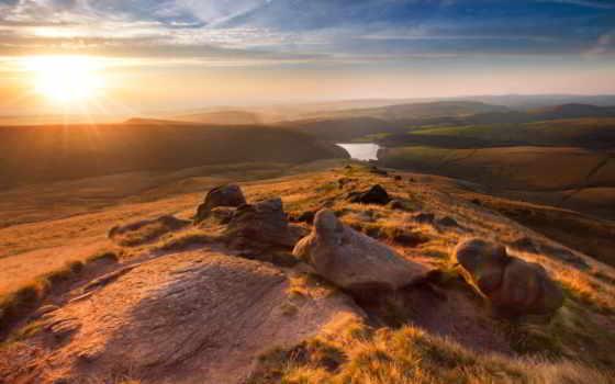 landscape, англия, hayfield