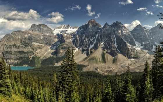 озеро, канада, обойки, панорама, гора, альберта, лес, banff, долина, park, peaks,