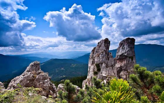 скалы, горы, небо, landscape, amazing, oblaka, арка, ветки,