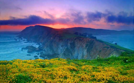 point, reyes, seashore, national, california, usa, ocean, marin, уезд, закат,