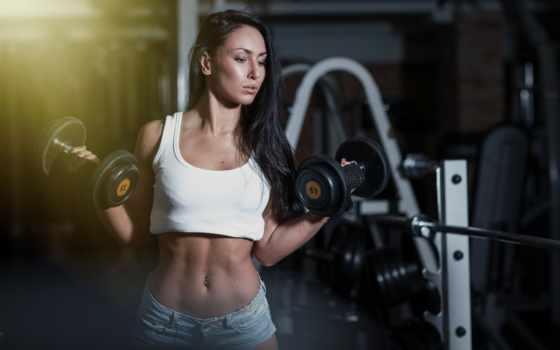 гантелями, девушек, девушка, упражнения, зале, тренажерном, тренировок, жим, спортзале, программа, тренировочный,