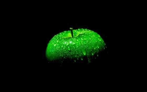 black, apple, зеленое, макро,