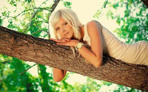 девушка, широкоформатные, стиль, дерево, красивые, платье, png, блондинки, блондинкам,