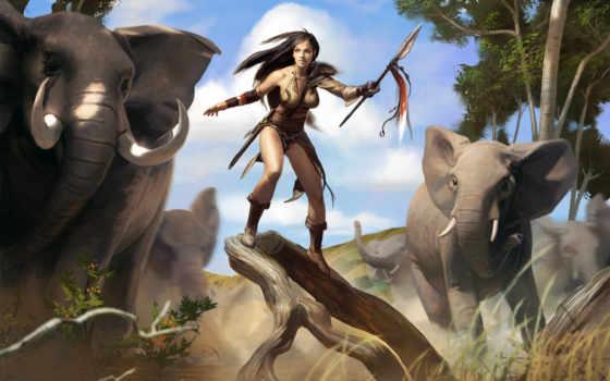 слон, охотница