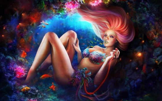 девушка, рыбы, арт, под, водой, коралл, рыбки, краб, mri, морское, кораллы, картинка, дно,