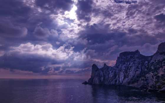 лучи, облака, море