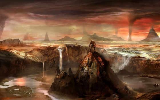горы, водопад, cliff