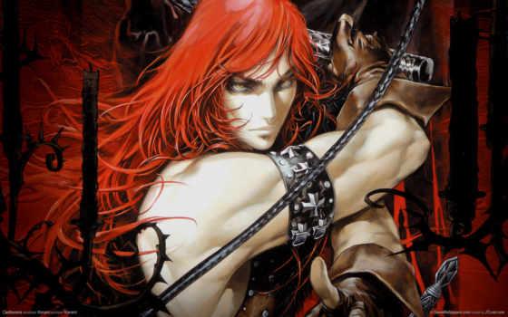 волосами, art, парень, аватар, длинными, красными, мужчина, волосы, castlevania, воин, красные,