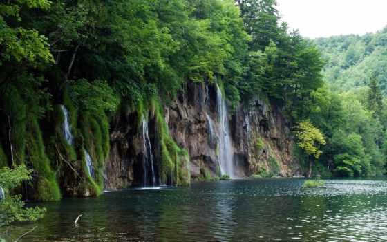 lakes, plitvice, national, park, хорватия, water, водопады, trees,
