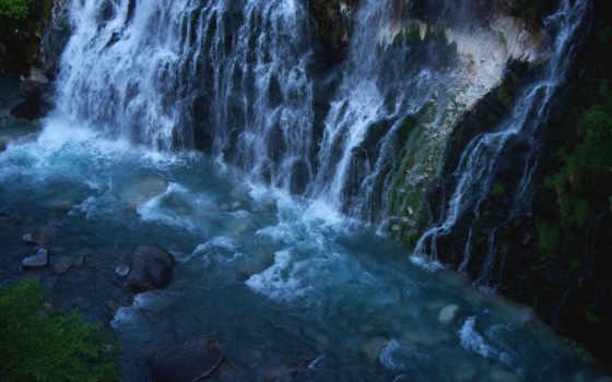 природа, waterfalls, bottom, вечер, водопад, камни, река,