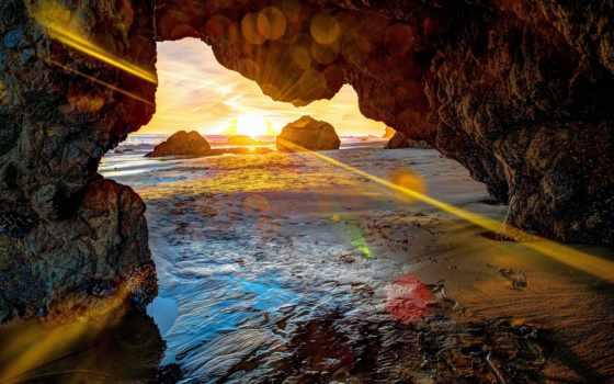 parede, papel, paisagens, adesivo, мар, grátis, caverna, cavernas, por, сол,