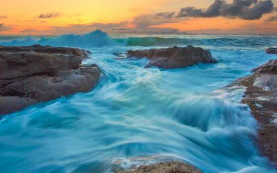 water, камни, камень, waves, ocean, surf, тихий, закат,