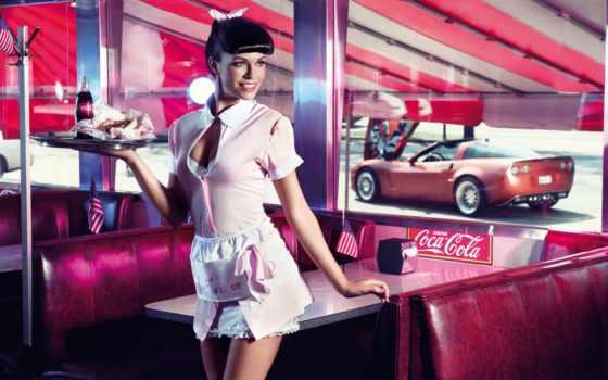 девушка, coca, кафе, колой, waitress, cola, окно, фотосессия, флаг, машина,