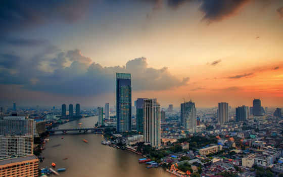 thai, таиланд, город, building, тв, bangkok