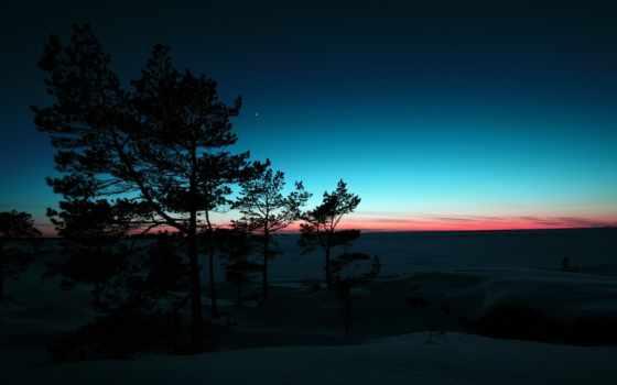 рассвет, winter, горы