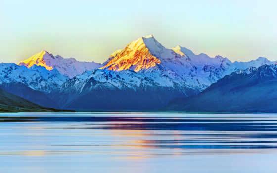 , горы, озеро, закат, небо, блики,