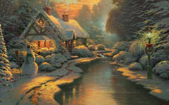 winter, new, год, праздник, house, снег, декабрь, вечер, garland, дек, ночь,