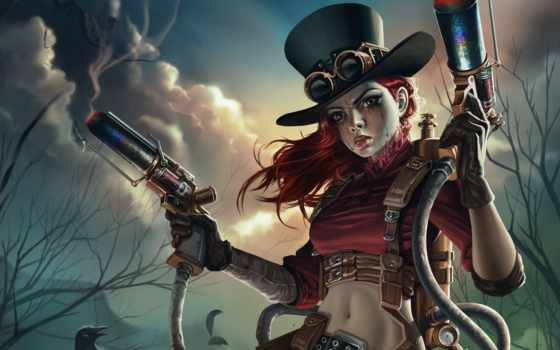 steampunk, оружие, воин, стиле, fantasy, art, девушка,