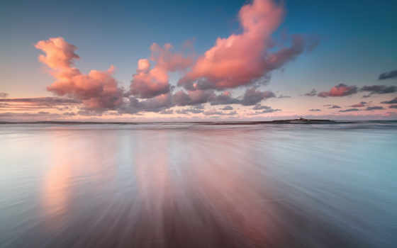 облако, water, розовый, море, закат, над, коллекция, природа, небо
