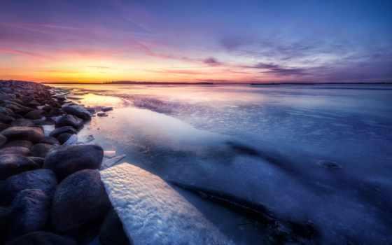 море, закат, water, волна, winter